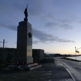 The Liberation monument in Stanley, Falkland Islands.