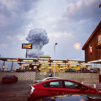 Instagram photo showing smoke rising from a fertiliser plant fire in West, Texas (AP/Andy Bartee)