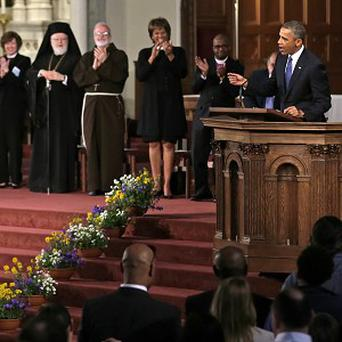 President Barack Obama speaks during an interfaith healing service at the Cathedral of the Holy Cross in Boston (AP)