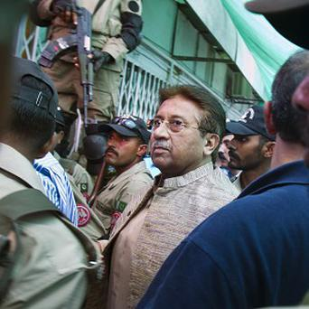 Pakistan's former president Pervez Musharraf arrives at an anti-terrorism court in Islamabad (AP)