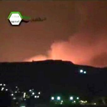Smoke fills the skyline over Damascus, Syria, after an alleged Israeli airstrike (AP/Ugarit News)