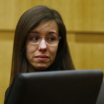Jodi Arias looks at her family after being found of guilty of first-degree murder (AP/The Arizona Republic, Rob Schumacher)