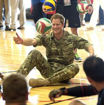 Prince Harry meets British soldiers competing in the Warrior Games in Colorado Springs (Arthur Edwards/The Sun /PA)
