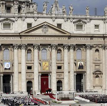 A canonisation mass is held in St Peter's Square at the Vatican (AP)