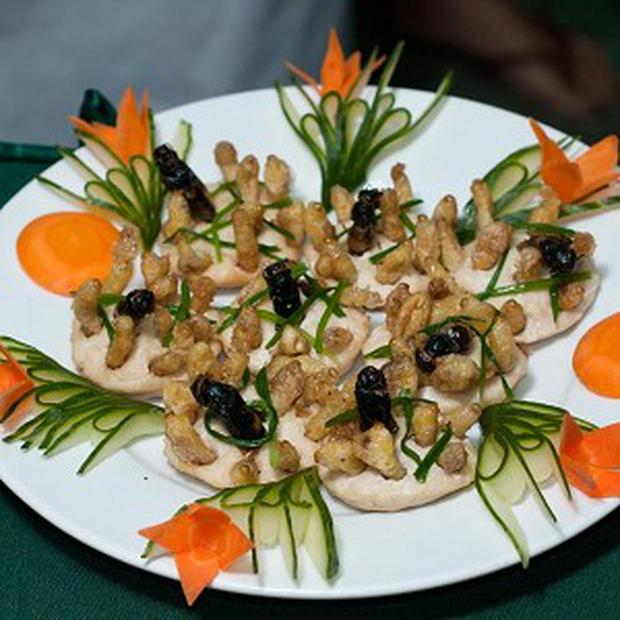 A plate of insects presented during a cooking competition in Laos (AP)