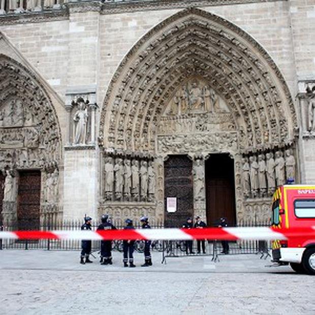 Police seal off Notre Dame after the shooting (AP)