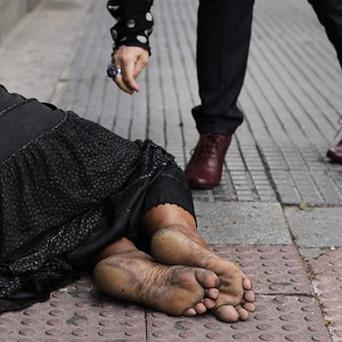 Beggars are a by-product of soaring European unemployment (AP)