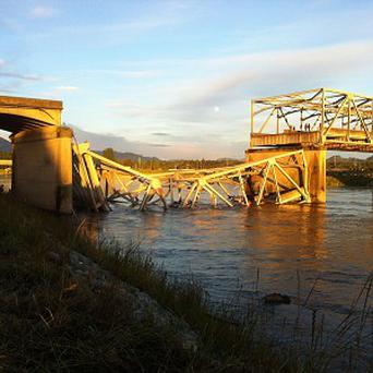 A portion of the Interstate 5 bridge is submerged after it collapsed into the Skagit River (AP/Skagit Valley Herald, Frank Varga)