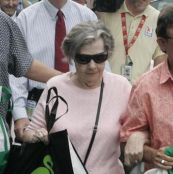 Powerball winner Gloria Mackenzie, 84, leaves the lottery office after claiming her huge prize (AP/Steve Cannon)