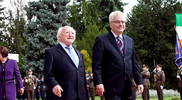 President of Ireland Michael D Higgins with the President of the Republic of Croatia Prof. Dr. Tatjana Josipovic at the Office of the President in Zagreb