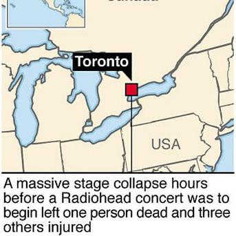 Graphic locates Toronto in Canada where a person was killed following a stage collapse before a Radiohead concert