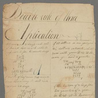 One of two pages confirmed as from the maths notebook believed to be written by Abraham Lincoln (AP/With permission of the Houghton Library, Harvard University)