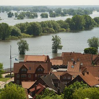 The flooded Elbe River photographed at the city of Hitzacker, Lower Saxony, Germany (AP)