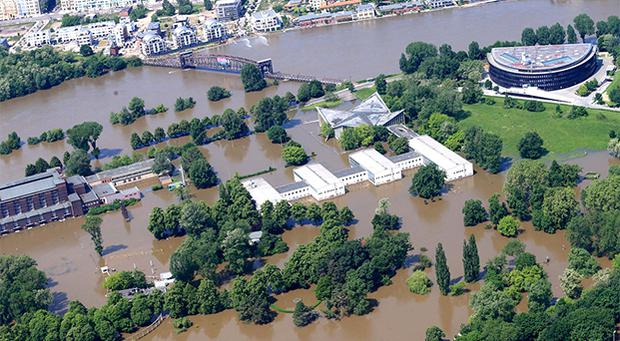In this aerial view the Magdeburg, Germany, central park is flooded by river Elbe
