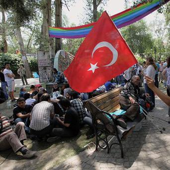 A Turkish boy waves a national flag in support of Turkish protesters who are sitting in Kugulu Park in Ankara (AP)