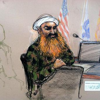 A sketch by a courtroom artist of self-proclaimed terrorist mastermind Khalid Sheikh Mohammed (AP/Janet Hamlin)