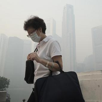 A woman wears a mask as a haze blankets the Singapore Central Business District (AP)