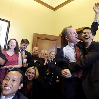 US supporters of gay marriage celebrate the decisions (AP)