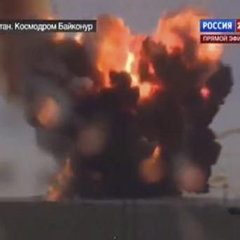 The Russian rocket caught on TV as it crashes in flames (AP)