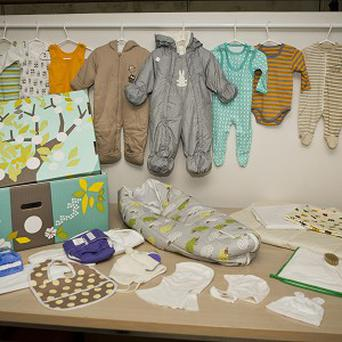 The royal baby box and its contents (AP)