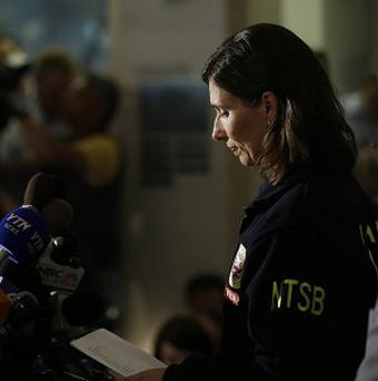 National Transportation Safety Board chairwoman Deborah Hersman speaks at a press briefing (AP/Marcio Jose Sanchez)