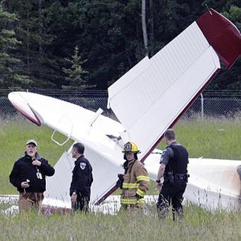 The remains of a fixed-wing aircraft that was engulfed in flames at the Soldotna Airport in Alaska (AP/Peninsula Clarion, Rashah McChesney)