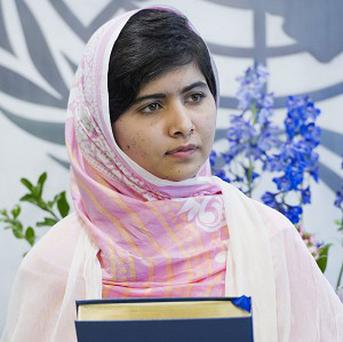 Malala Yousafzai before her speech to the youth assembly of the United Nations