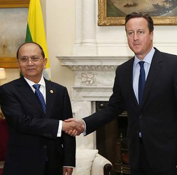 Burmese president Thein Sein meets David Cameron at 10 Downing Street