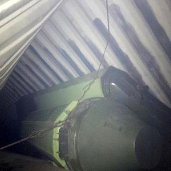 A picture posted by Panama president Ricardo Martinelli showing alleged missile equipment on a North Korean-flagged ship (AP)