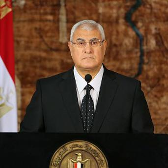 Egypt's interim president, Adly Mansour, makes his first address to the nation since taking his post (AP/Egyptian Presidency)