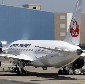 A Japan Airlines Boeing 787 aircraft sits on the tarmac at Terminal E at Logan International Airport in Boston (AP/Elise Amendola)