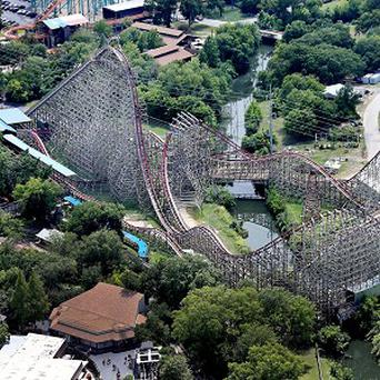 The Texas Giant roller coaster at Six Flags Over Texas where a woman fell to her death (/The Dallas Morning News, Louis DeLuca)