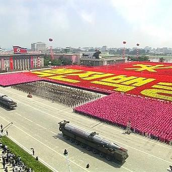 Military vehicles are pictured on video during a ceremony marking the 60th anniversary of the Korean War armistice in Pyongyang, North Korea (AP)