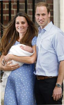 Kate Middleton, displaying her post-partum belly, and Prince William leaving the maternity hospital with their newborn son George