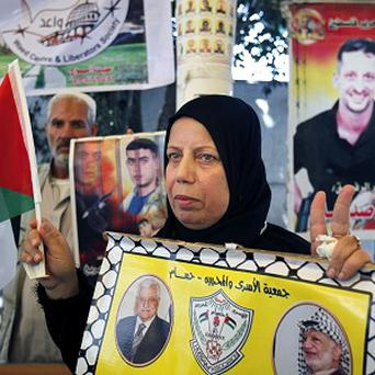 A supporter of Palestinian prisoners at a sit-in protest in Gaza (AP)