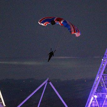 Mark Sutton parachuted into the Olympic Stadium, dressed as James Bond, during the London 2012 opening ceremony