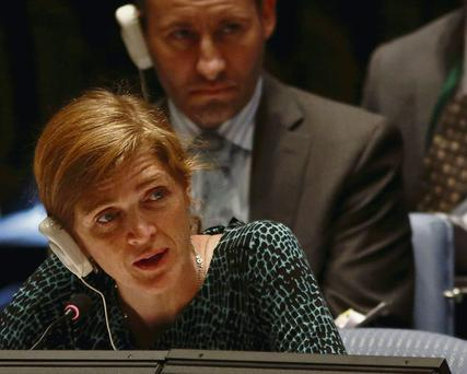 Samantha Power speaks at the UN Security Council meeting.