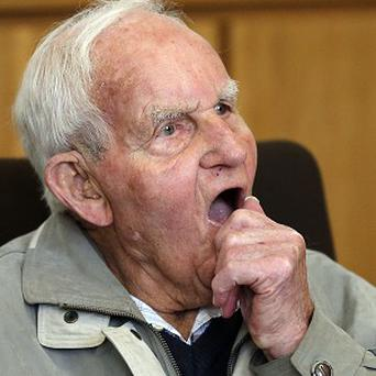 Siert Bruins the 92-year-old former member of the Nazi Waffen SS, accused of murdering a Dutch resistance fighter in 1944 (AP)