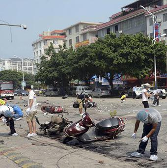 A truck caught fire and exploded in the resort city of Guilin, China (AP)