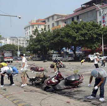 The aftermath of Monday's explosion outside Balijie Primary School in Lingchuan county in south China's Guangxi Zhuang Autonomous Region (AP)