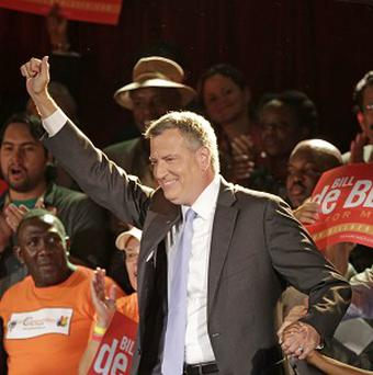 New York City Democratic mayoral hopeful Bill De Blasio leads in the city's primary election (AP/Kathy Willens)