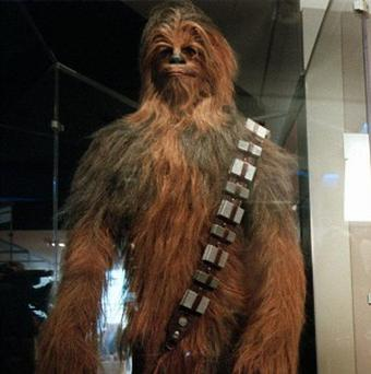 A Chewbacca costume as worn by actor Peter Mayhew (AP/Ken Cedeno)