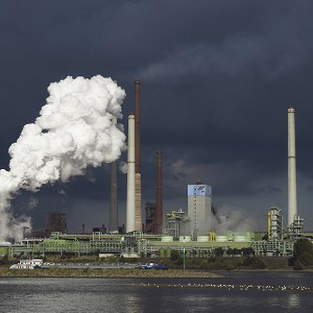 Industrial output in the eurozone slumped in July hitting hopes of a solid rebound from recession (AP)