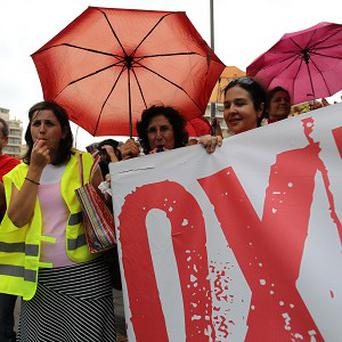 Striking Greek teachers hold a protest (AP)