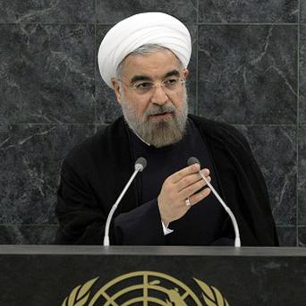 President of Iran Hasan Rouhani addresses the United Nations General Assembly (AP/Brendan McDermid)