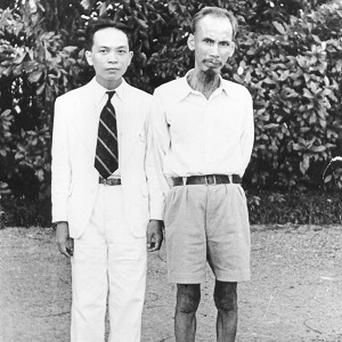 In this 1950 photo, Ho Chi Minh, right, who became president of North Vietnam, poses with Vo Nguyen Giap, the legendary general who has died aged 102. (AP/File)