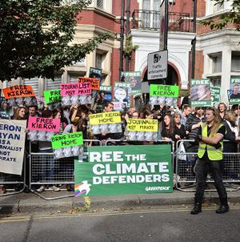 A protest outside the Russian Embassy in London in support of the Greenpeace activists held in Russia