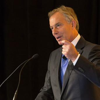 Former prime minister Tony Blair, pictured in Des Moines, Iowa, where he spoke of the work that his foundation does in African nations and elsewhere to improve lives.