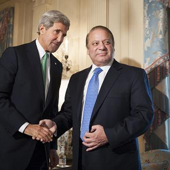 US Secretary of State John Kerry meets Pakistan Prime Minister Nawaz Sharif at the State Department in Washington (AP)