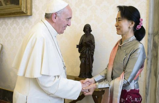 Pope Francis with Aung San Suu Kyi at their Vatican meeting